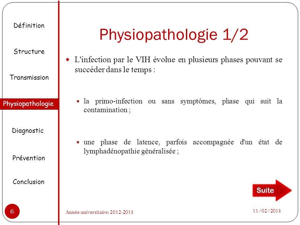 Physiopathologie 1/2 L infection par le VIH évolue en plusieurs phases pouvant se succéder dans le temps : la primo-infection ou sans symptômes, phase qui suit la contamination ; une phase de latence, parfois accompagnée d un état de lymphadénopathie généralisée ; Définition Structure Physiopathologie Transmission Diagnostic Prévention Conclusion 11/02/2013 6 Année universitaire: 2012-2013