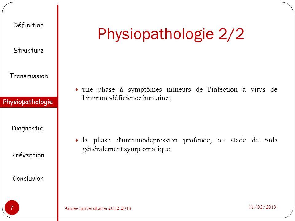 Physiopathologie 2/2 une phase à symptômes mineurs de l'infection à virus de l'immunodéficience humaine ; la phase d'immunodépression profonde, ou sta