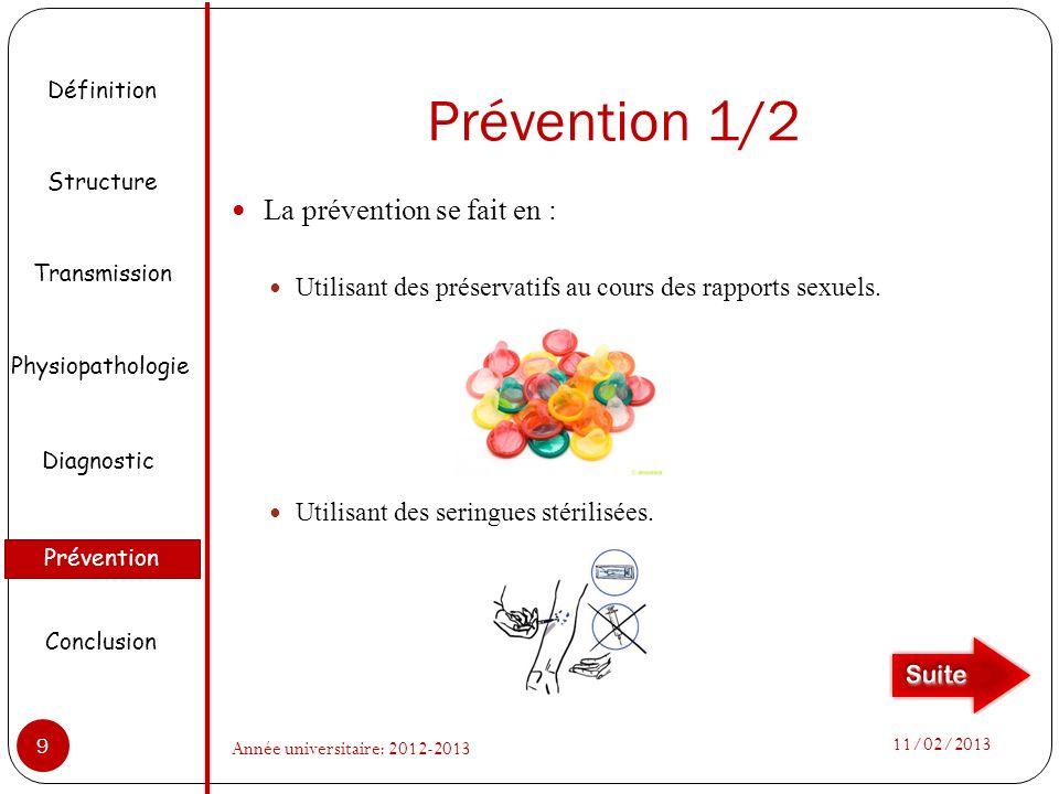 Prévention 1/2 La prévention se fait en : Utilisant des préservatifs au cours des rapports sexuels. Utilisant des seringues stérilisées. Définition St