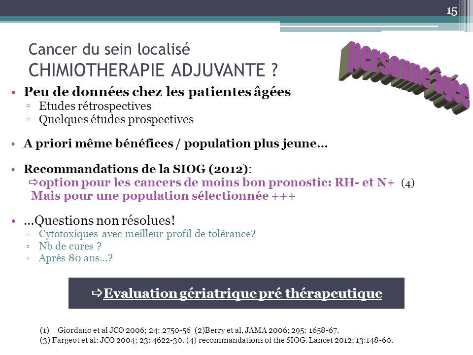 Cancer du sein localisé CHIMIOTHERAPIE ADJUVANTE .