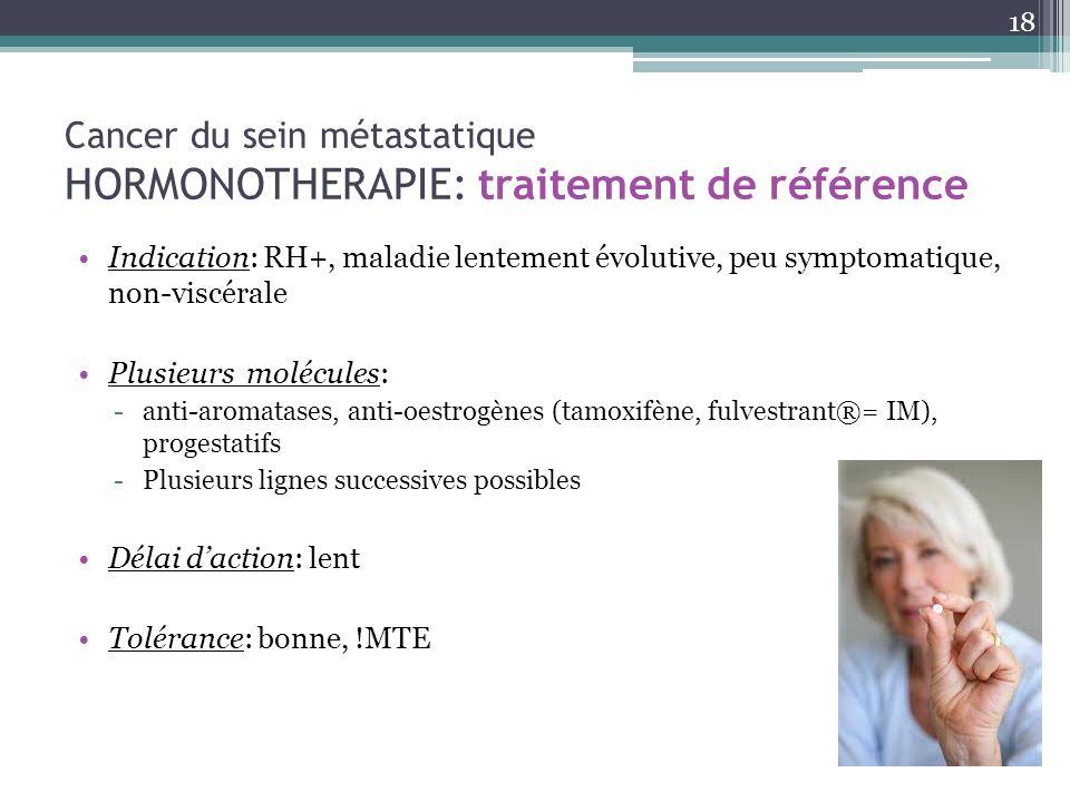 Cancer du sein métastatique HORMONOTHERAPIE: traitement de référence Indication: RH+, maladie lentement évolutive, peu symptomatique, non-viscérale Pl