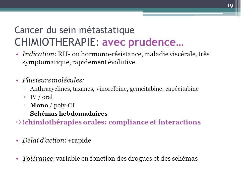 Cancer du sein métastatique CHIMIOTHERAPIE: avec prudence… Indication: RH- ou hormono-résistance, maladie viscérale, très symptomatique, rapidement év