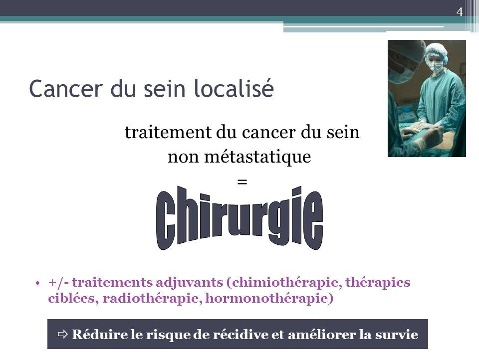 Cancer du sein localisé traitement du cancer du sein non métastatique = +/- traitements adjuvants (chimiothérapie, thérapies ciblées, radiothérapie, h