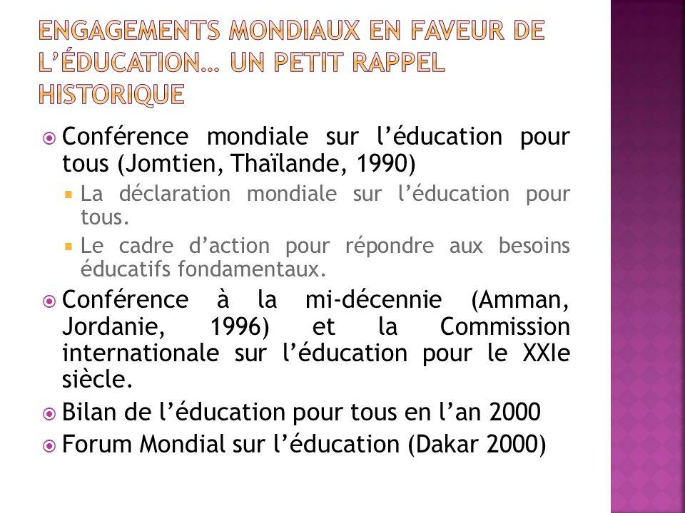 Conférence mondiale sur léducation pour tous (Jomtien, Thaïlande, 1990) La déclaration mondiale sur léducation pour tous. Le cadre daction pour répond