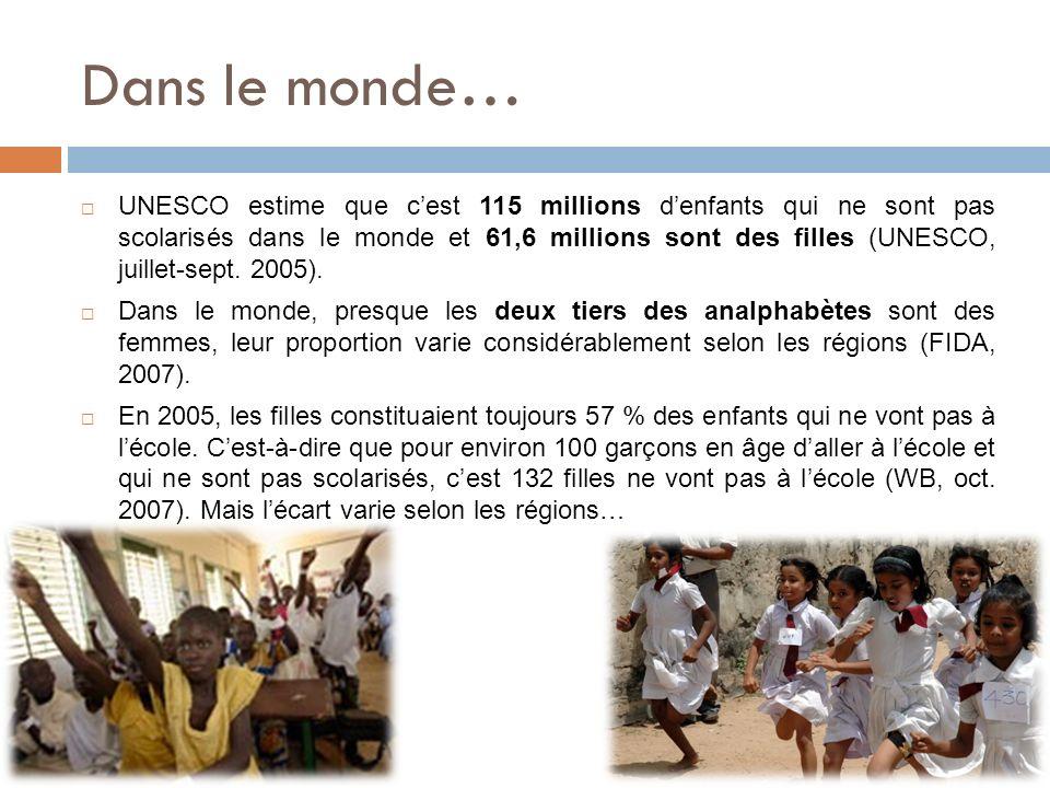 Dans le monde… UNESCO estime que cest 115 millions denfants qui ne sont pas scolarisés dans le monde et 61,6 millions sont des filles (UNESCO, juillet