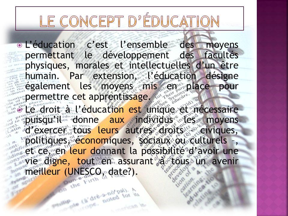 Léducation cest lensemble des moyens permettant le développement des facultés physiques, morales et intellectuelles dun être humain. Par extension, lé