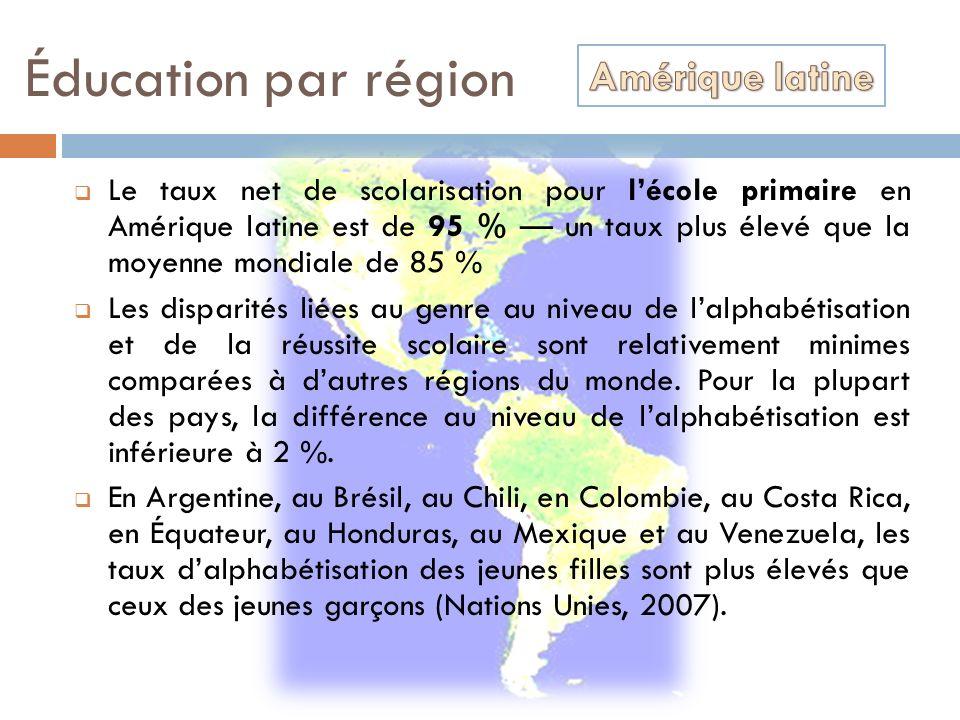Éducation par région Le taux net de scolarisation pour lécole primaire en Amérique latine est de 95 % un taux plus élevé que la moyenne mondiale de 85
