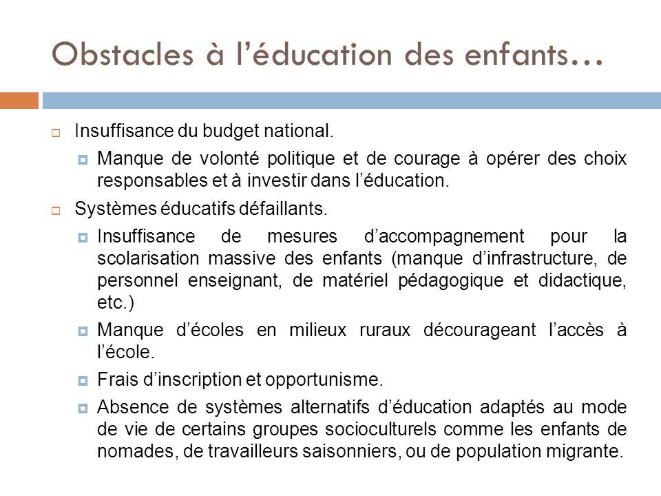 Obstacles à léducation des enfants… Insuffisance du budget national. Manque de volonté politique et de courage à opérer des choix responsables et à in