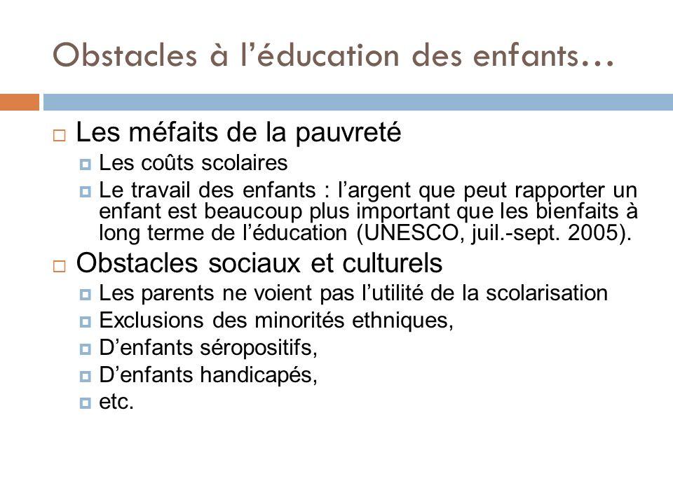 Obstacles à léducation des enfants… Les méfaits de la pauvreté Les coûts scolaires Le travail des enfants : largent que peut rapporter un enfant est b
