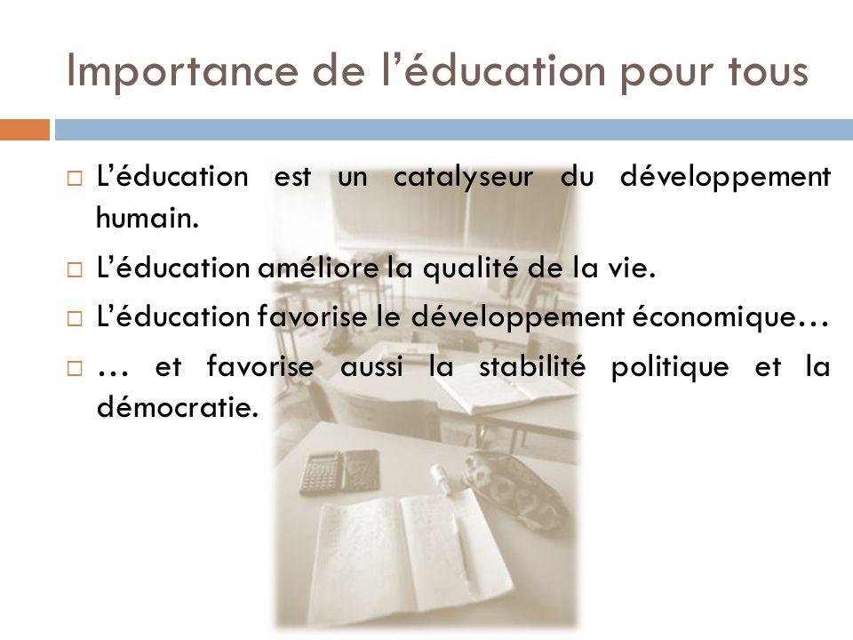 Importance de léducation pour tous Léducation est un catalyseur du développement humain. Léducation améliore la qualité de la vie. Léducation favorise