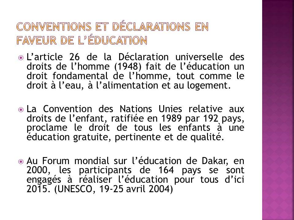 Larticle 26 de la Déclaration universelle des droits de lhomme (1948) fait de léducation un droit fondamental de lhomme, tout comme le droit à leau, à