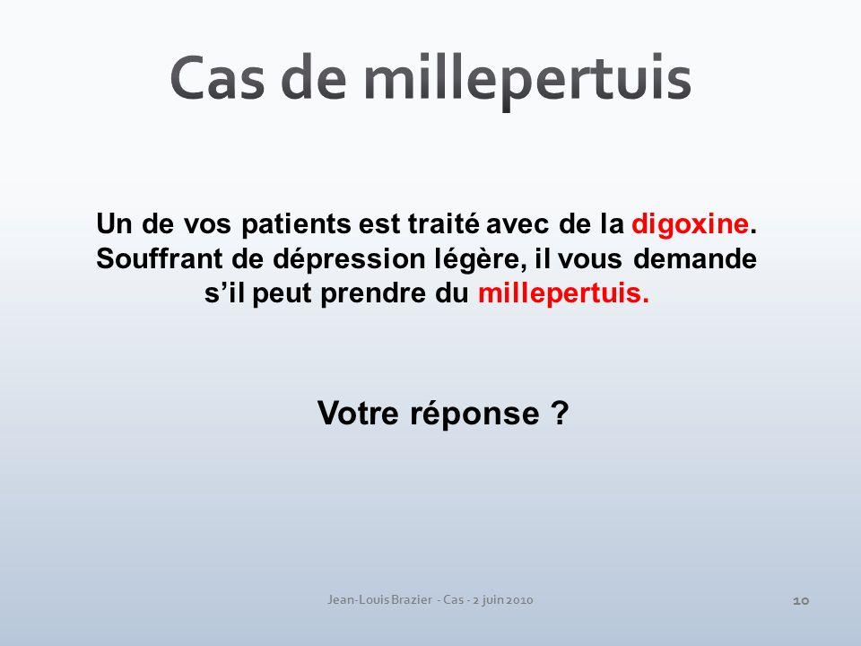 Jean-Louis Brazier - Cas - 2 juin 2010 Un de vos patients est traité avec de la digoxine. Souffrant de dépression légère, il vous demande sil peut pre