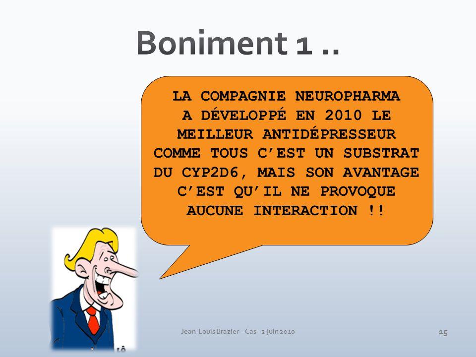 Jean-Louis Brazier - Cas - 2 juin 2010 LA COMPAGNIE NEUROPHARMA A DÉVELOPPÉ EN 2010 LE MEILLEUR ANTIDÉPRESSEUR COMME TOUS CEST UN SUBSTRAT DU CYP2D6,