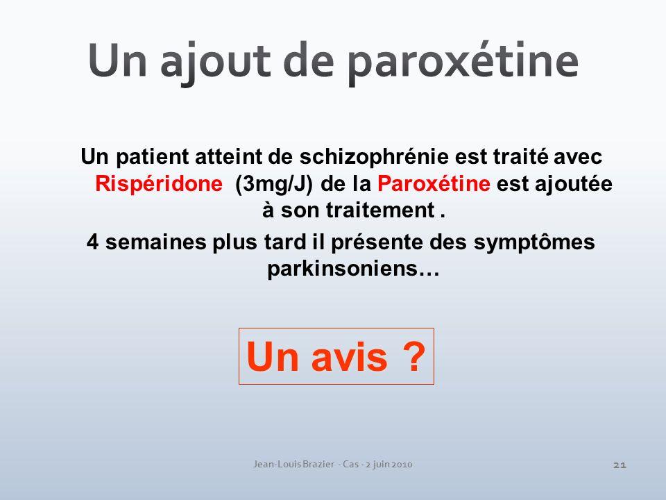 Jean-Louis Brazier - Cas - 2 juin 2010 Un patient atteint de schizophrénie est traité avec Rispéridone (3mg/J) de la Paroxétine est ajoutée à son trai