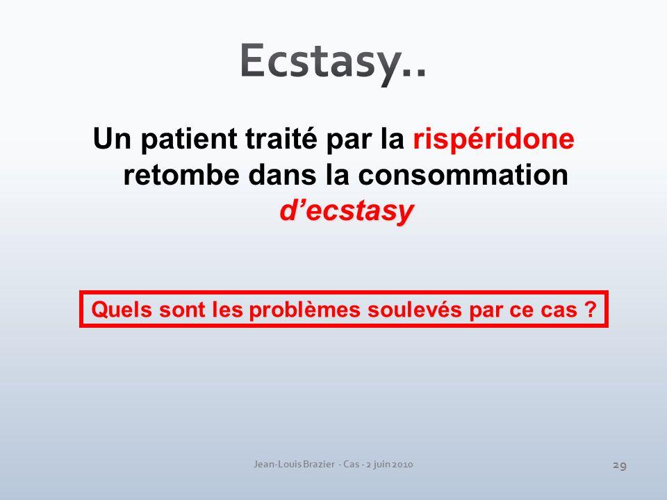 Jean-Louis Brazier - Cas - 2 juin 2010 decstasy Un patient traité par la rispéridone retombe dans la consommation decstasy Quels sont les problèmes so