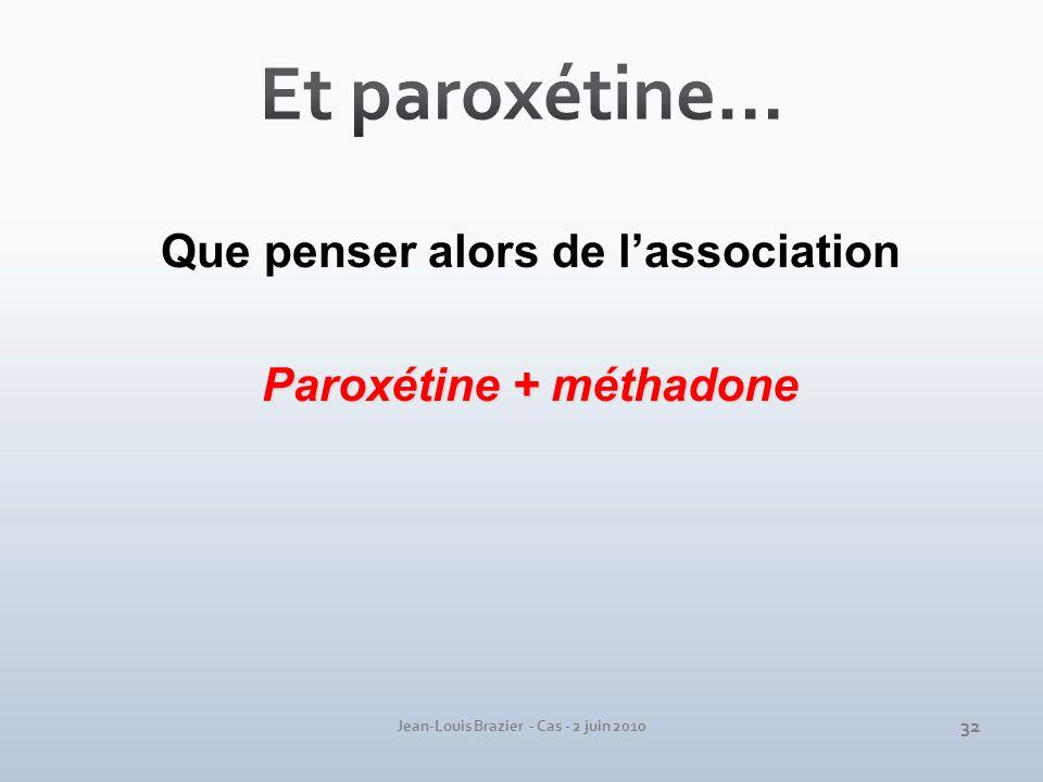 Jean-Louis Brazier - Cas - 2 juin 2010 Que penser alors de lassociation Paroxétine + méthadone 32