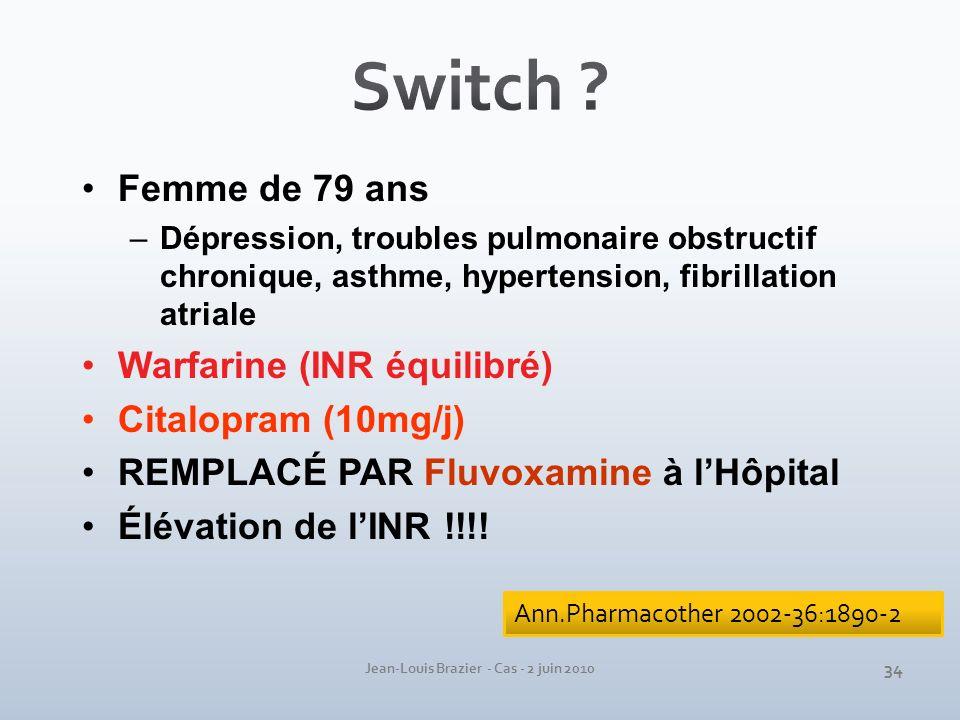 Jean-Louis Brazier - Cas - 2 juin 2010 Femme de 79 ans –Dépression, troubles pulmonaire obstructif chronique, asthme, hypertension, fibrillation atria