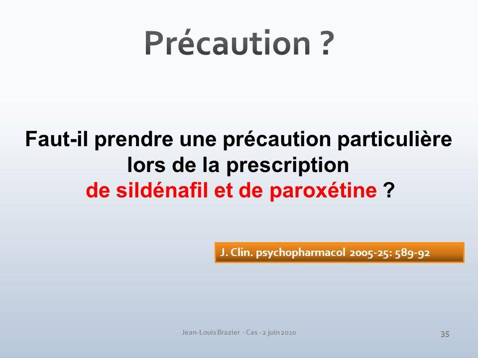 Jean-Louis Brazier - Cas - 2 juin 2010 Faut-il prendre une précaution particulière lors de la prescription de sildénafil et de paroxétine ? 35