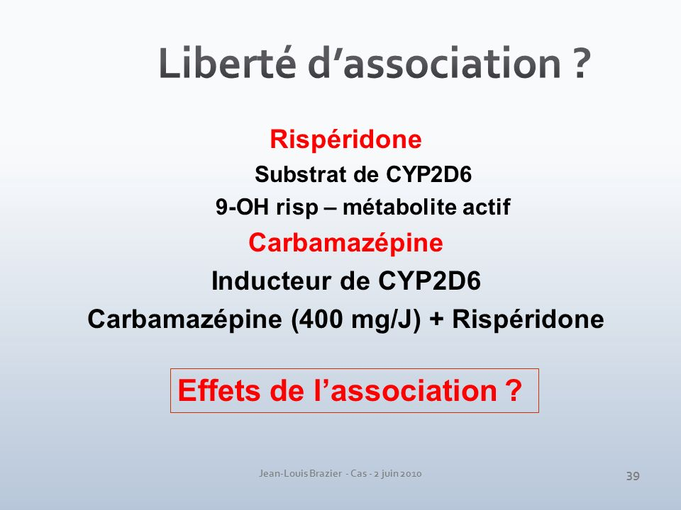 Jean-Louis Brazier - Cas - 2 juin 2010 Rispéridone Substrat de CYP2D6 9-OH risp – métabolite actif Carbamazépine Inducteur de CYP2D6 Carbamazépine (40