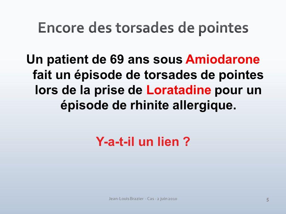 Jean-Louis Brazier - Cas - 2 juin 2010 Un patient de 69 ans sous Amiodarone fait un épisode de torsades de pointes lors de la prise de Loratadine pour