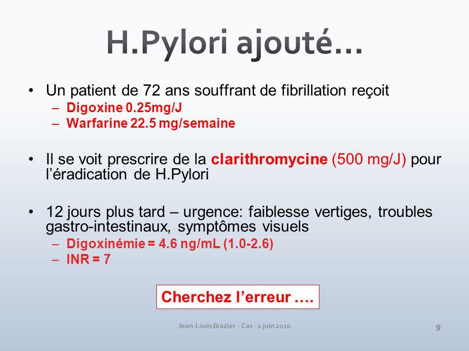 Jean-Louis Brazier - Cas - 2 juin 2010 Un patient de 72 ans souffrant de fibrillation reçoit –Digoxine 0.25mg/J –Warfarine 22.5 mg/semaine Il se voit