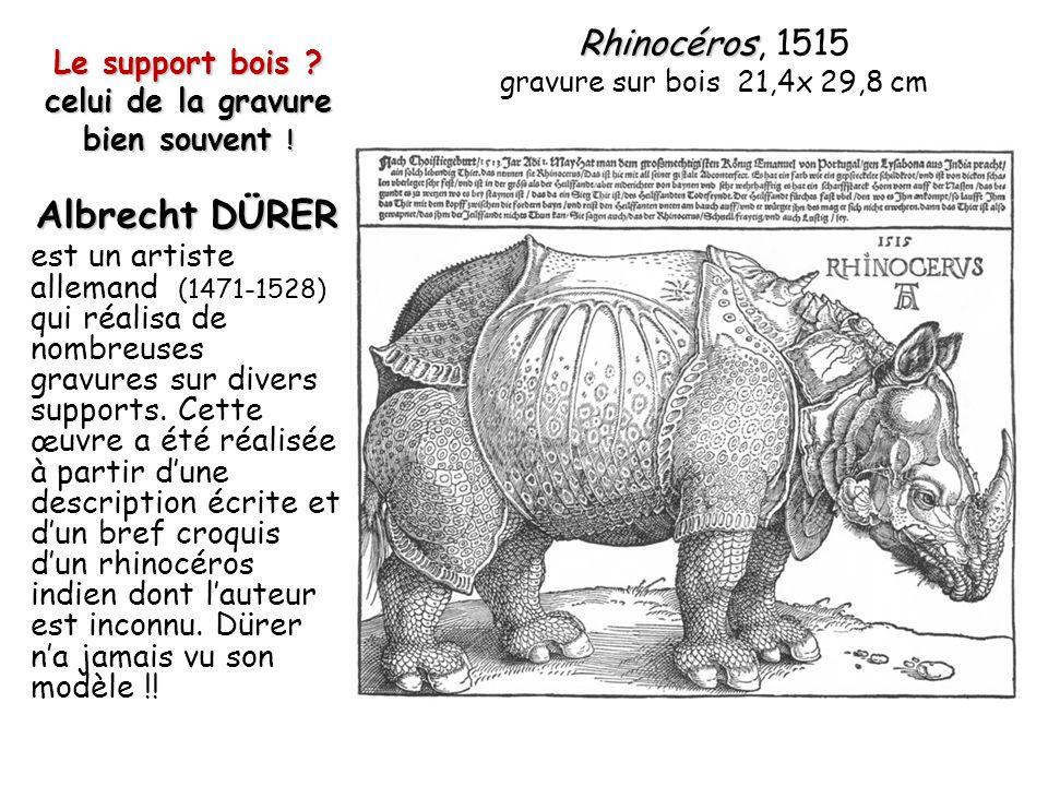 Le support bois ? celui de la gravure bien souvent ! Albrecht DÜRER est un artiste allemand (1471-1528) qui réalisa de nombreuses gravures sur divers