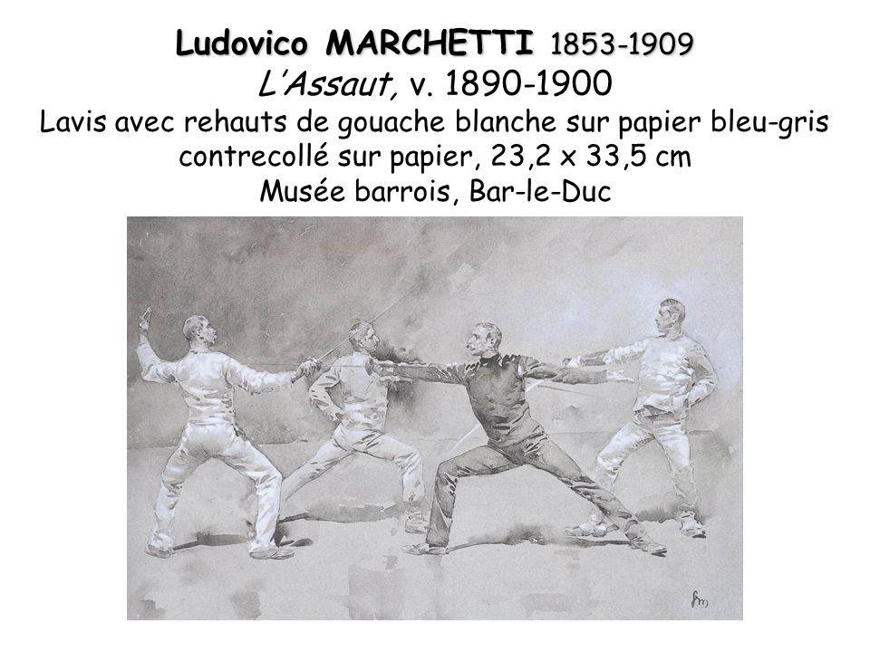 Ludovico MARCHETTI 1853-1909 LAssaut, v. 1890-1900 Lavis avec rehauts de gouache blanche sur papier bleu-gris contrecollé sur papier, 23,2 x 33,5 cm M