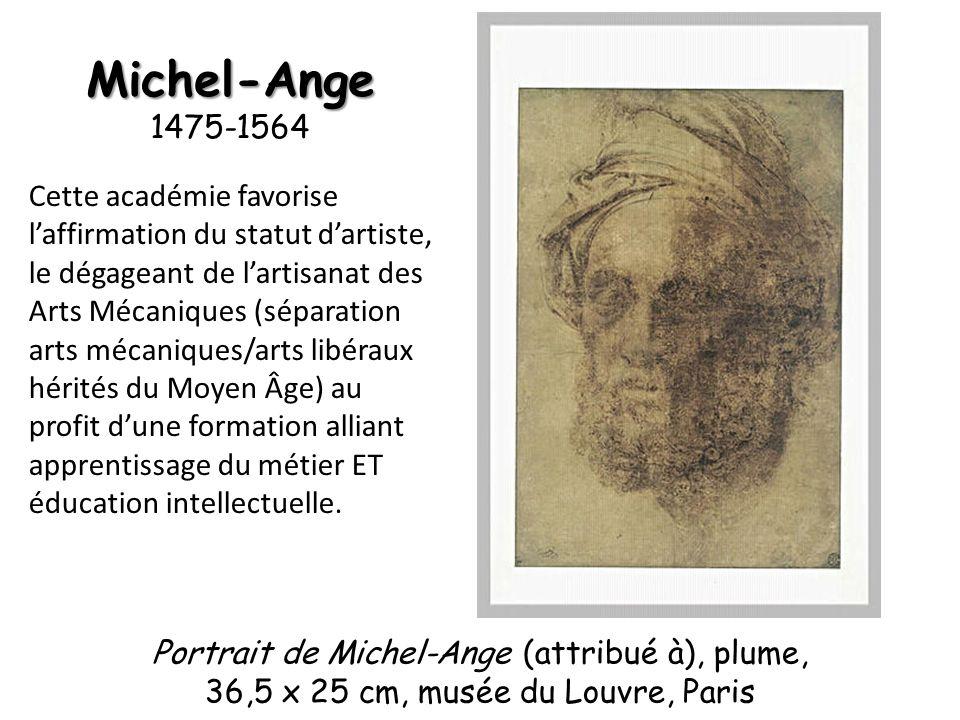 Michel-Ange Michel-Ange 1475-1564 Cette académie favorise laffirmation du statut dartiste, le dégageant de lartisanat des Arts Mécaniques (séparation