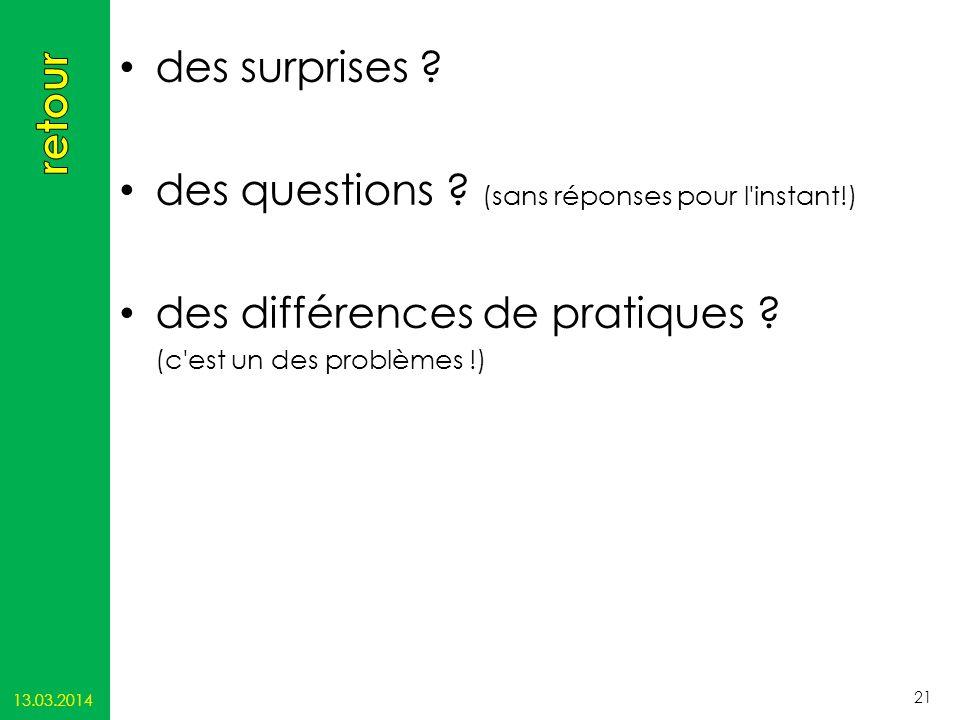 des surprises ? des questions ? (sans réponses pour l'instant!) des différences de pratiques ? (c'est un des problèmes !) 13.03.2014 21