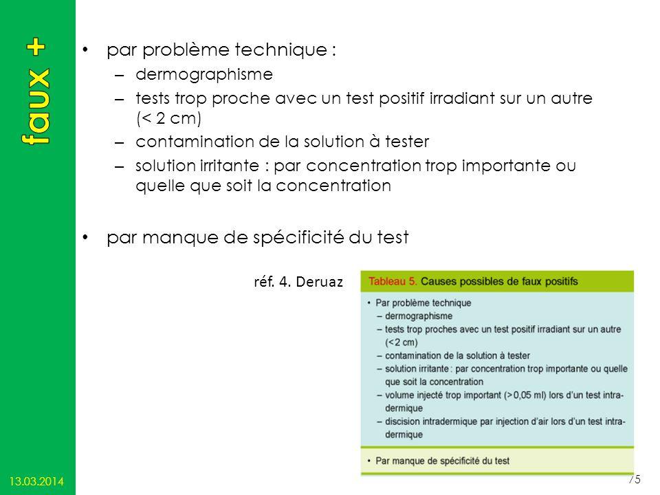 par problème technique : – dermographisme – tests trop proche avec un test positif irradiant sur un autre (< 2 cm) – contamination de la solution à te