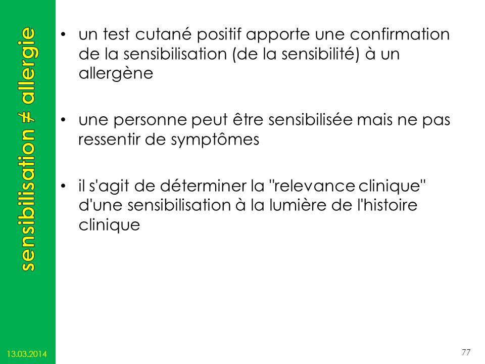 un test cutané positif apporte une confirmation de la sensibilisation (de la sensibilité) à un allergène une personne peut être sensibilisée mais ne p