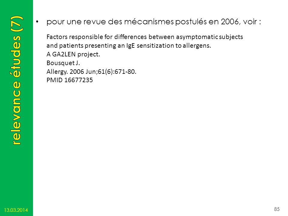 pour une revue des mécanismes postulés en 2006, voir : 13.03.2014 85 Factors responsible for differences between asymptomatic subjects and patients pr