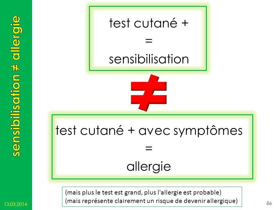 test cutané + = sensibilisation test cutané + avec symptômes = allergie 13.03.2014 86 (mais plus le test est grand, plus l'allergie est probable) (mai