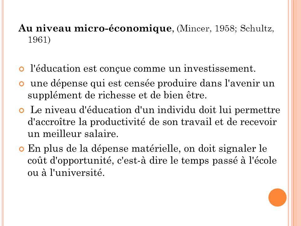 Au niveau micro-économique, (Mincer, 1958; Schultz, 1961) l'éducation est conçue comme un investissement. une dépense qui est censée produire dans l'a