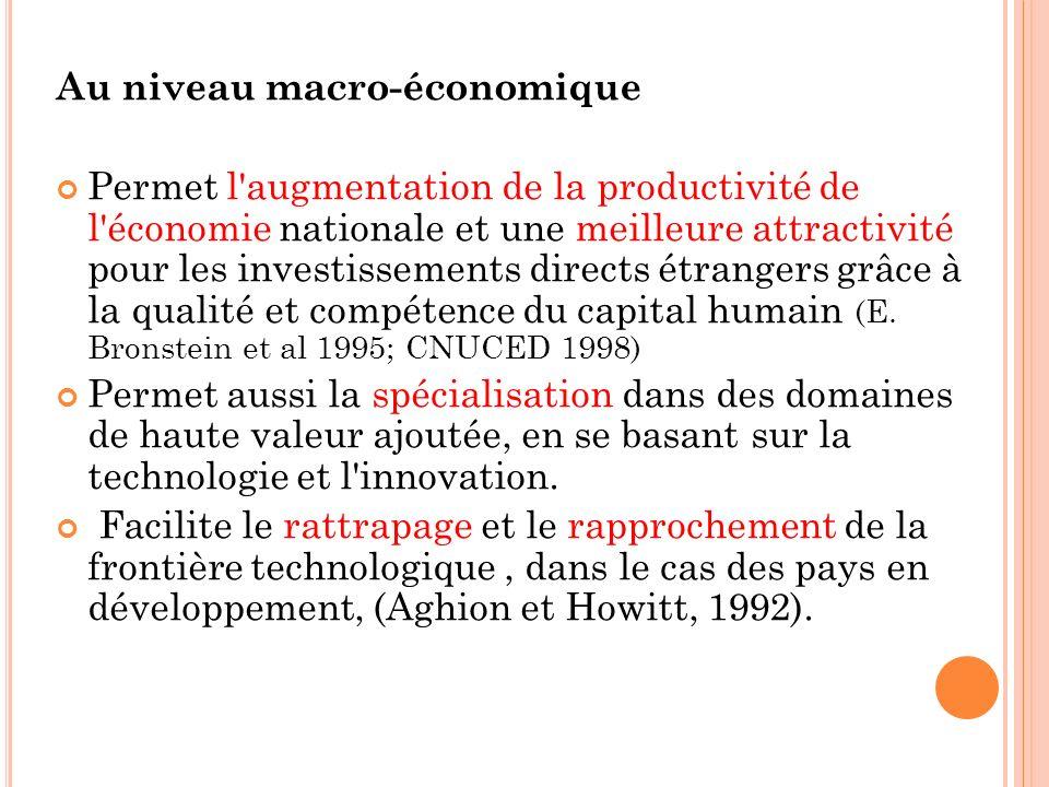Au niveau macro-économique Permet l'augmentation de la productivité de l'économie nationale et une meilleure attractivité pour les investissements dir