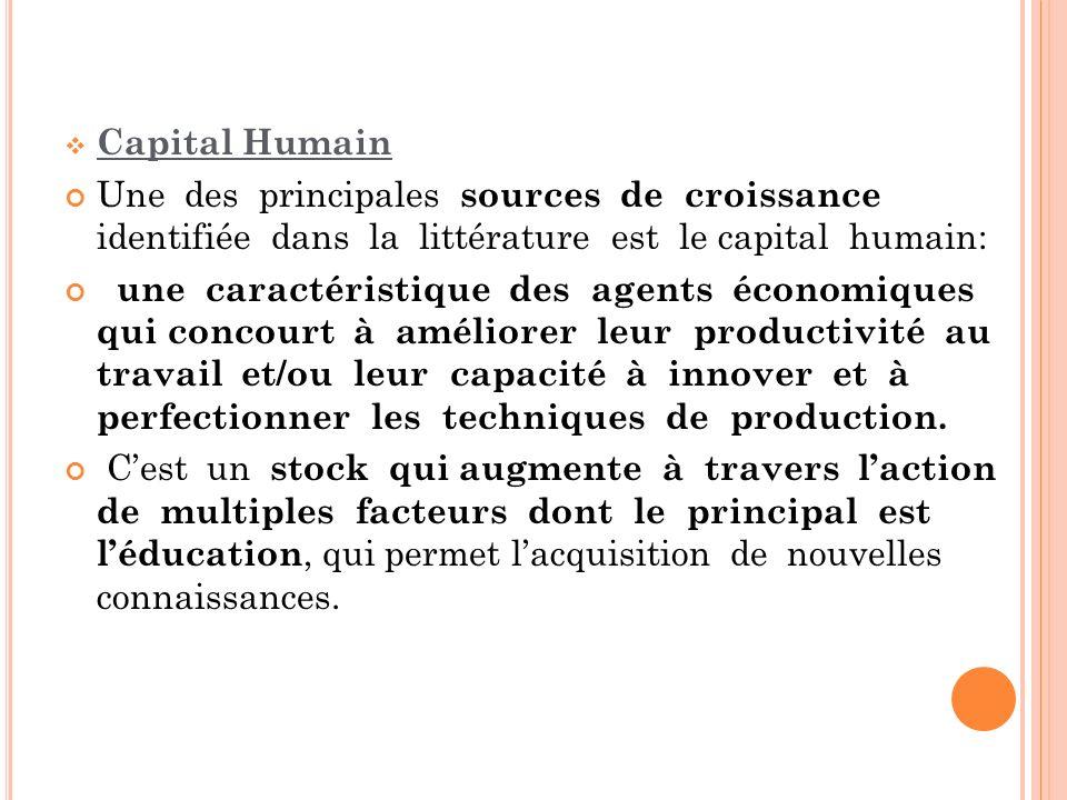 Capital Humain Une des principales sources de croissance identifiée dans la littérature est le capital humain: une caractéristique des agents économiq