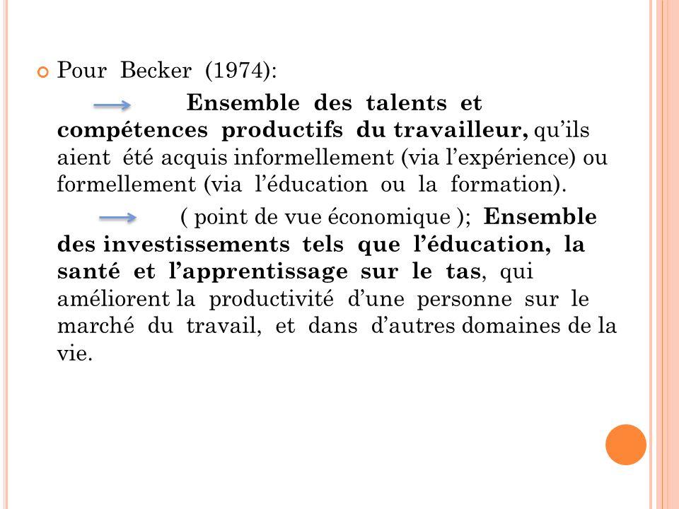 Pour Becker (1974): Ensemble des talents et compétences productifs du travailleur, quils aient été acquis informellement (via lexpérience) ou formelle