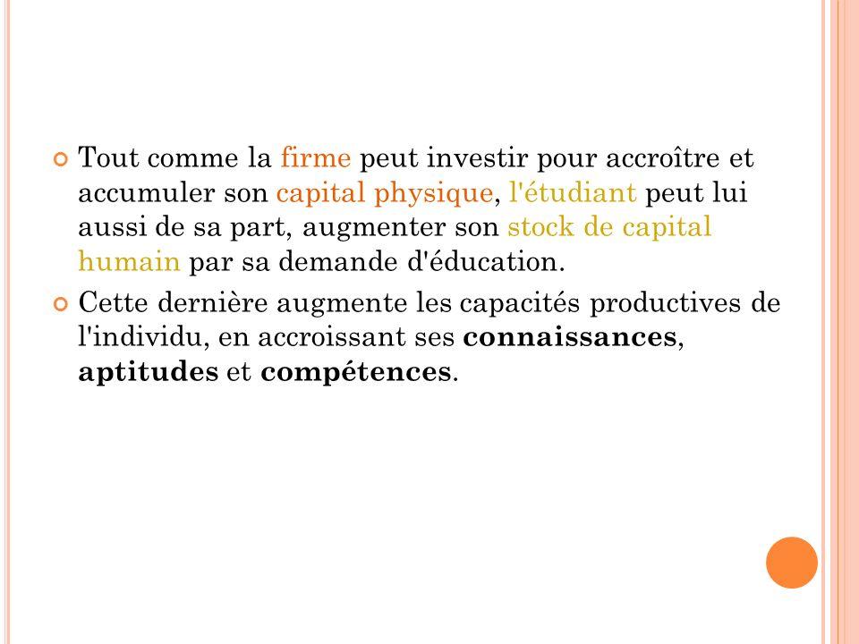 Tout comme la firme peut investir pour accroître et accumuler son capital physique, l'étudiant peut lui aussi de sa part, augmenter son stock de capit