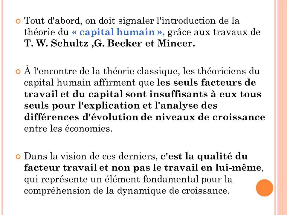 Tout d'abord, on doit signaler l'introduction de la théorie du « capital humain », grâce aux travaux de T. W. Schultz,G. Becker et Mincer. À l'encontr