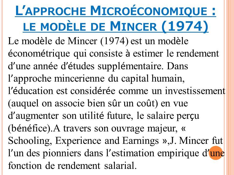 L APPROCHE M ICROÉCONOMIQUE : LE MODÈLE DE M INCER (1974) Le mod è le de Mincer (1974) est un mod è le é conom é trique qui consiste à estimer le rend