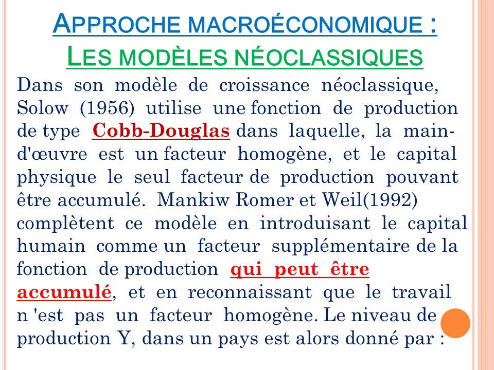 A PPROCHE MACROÉCONOMIQUE : L ES MODÈLES NÉOCLASSIQUES Dans son modèle de croissance néoclassique, Solow (1956) utilise une fonction de production de
