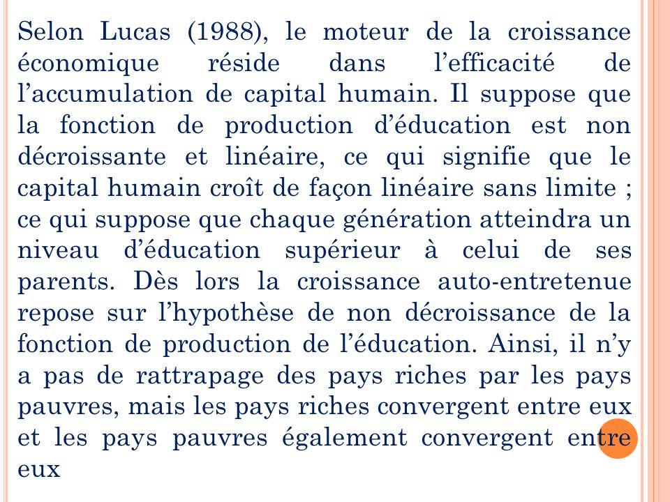 Selon Lucas (1988), le moteur de la croissance économique réside dans lefficacité de laccumulation de capital humain. Il suppose que la fonction de pr