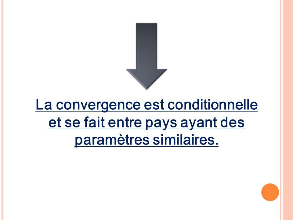 La convergence est conditionnelle et se fait entre pays ayant des paramètres similaires.