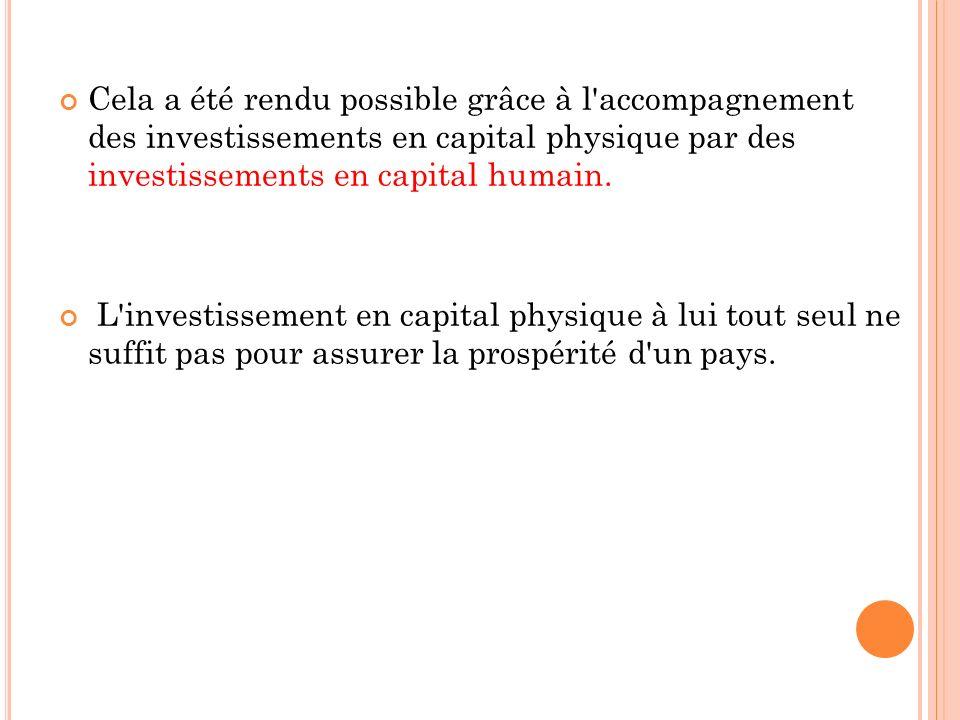 Cela a été rendu possible grâce à l'accompagnement des investissements en capital physique par des investissements en capital humain. L'investissement