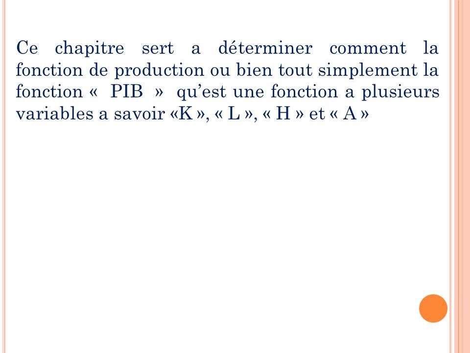 Ce chapitre sert a déterminer comment la fonction de production ou bien tout simplement la fonction « PIB » quest une fonction a plusieurs variables a