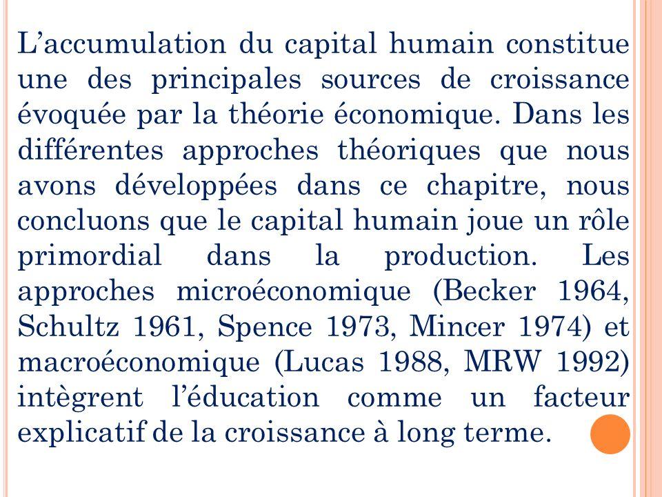 Laccumulation du capital humain constitue une des principales sources de croissance évoquée par la théorie économique. Dans les différentes approches