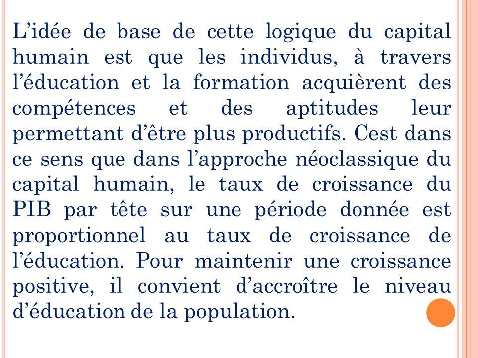 Lidée de base de cette logique du capital humain est que les individus, à travers léducation et la formation acquièrent des compétences et des aptitud