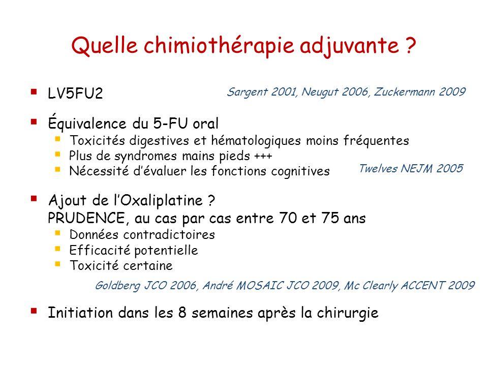 Quelle chimiothérapie adjuvante ? LV5FU2 Équivalence du 5-FU oral Toxicités digestives et hématologiques moins fréquentes Plus de syndromes mains pied