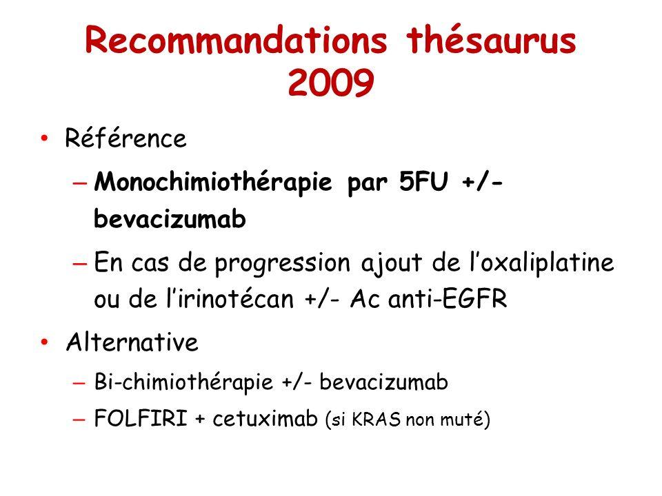 Recommandations thésaurus 2009 Référence – Monochimiothérapie par 5FU +/- bevacizumab – En cas de progression ajout de loxaliplatine ou de lirinotécan