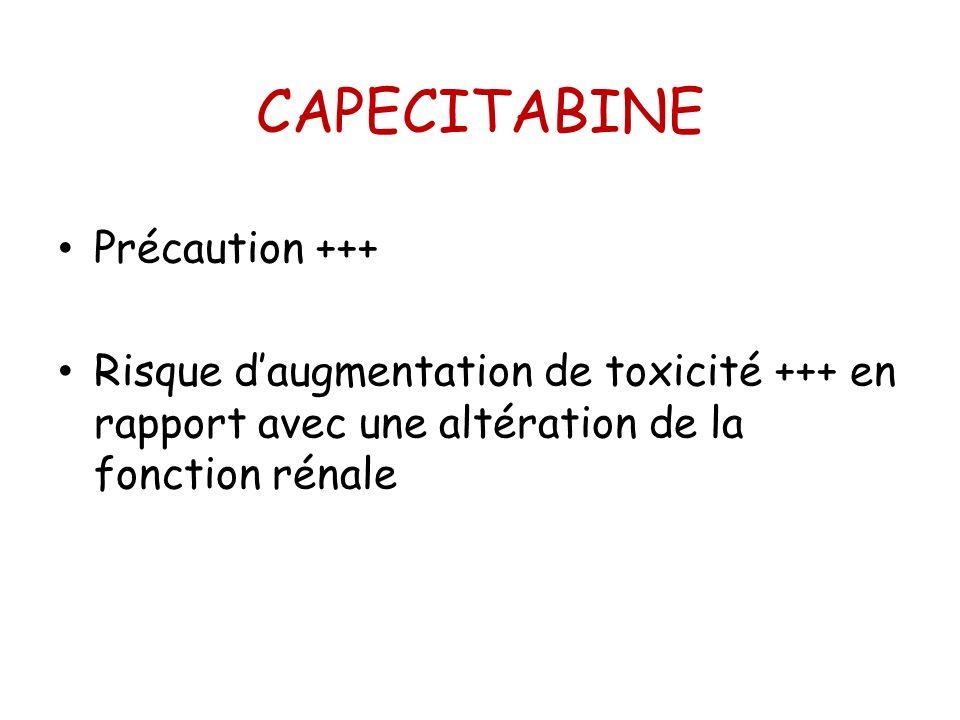 CAPECITABINE Précaution +++ Risque daugmentation de toxicité +++ en rapport avec une altération de la fonction rénale
